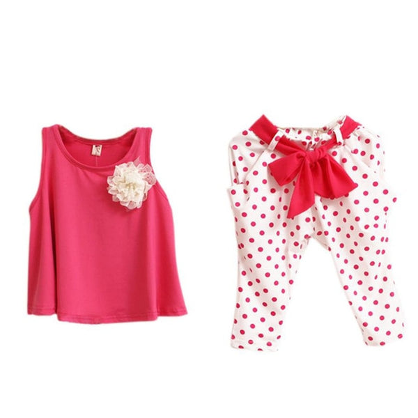 New Baby Girl Clothes Set Solid Sleeveless  High Quality Cotton
