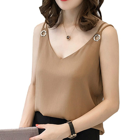 summer chiffon women blouse shirt new  fashion sleeveless - Marra's Dream