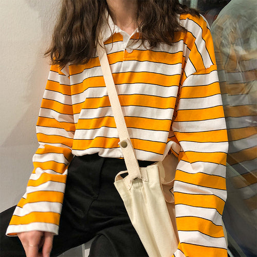 Loose Casual Vintage Striped Basic Long Sleeve T-shirts - Marra's Dream