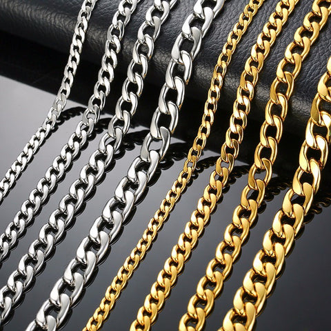 Silver Gold Filled Solid Necklace Curb Chains