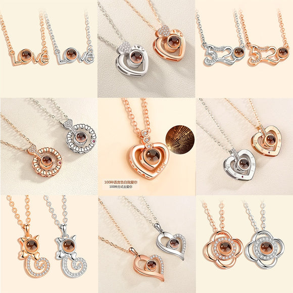 Rose Gold Silver 100 Language I love You Necklace - Marra's Dream