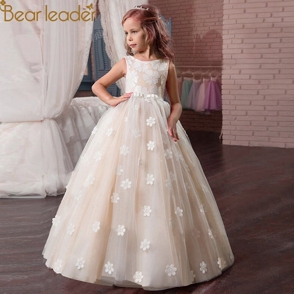 Bear Leader Girls Dress Sleeveless Lace Embroidery Flower - Marra's Dream