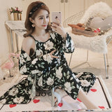 Cotton Robes Sets for Women New Autumn Summer Fashion  Pyjama Femme   Flower Print - Marra's Dream