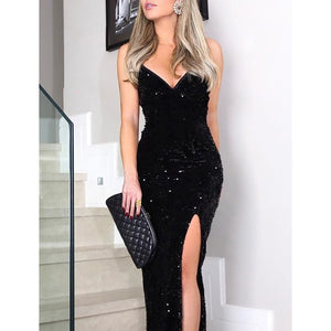 Sleeveless long sequin dress Women high slit spaghetti - Marra's Dream