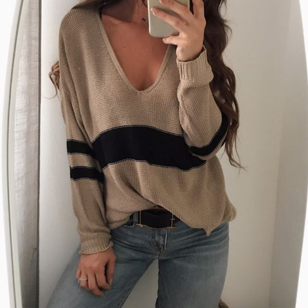 Long Sleeve Striped Sexy V Neck Knitted Sweater