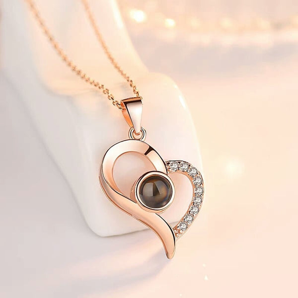 Rose Gold&Silver Love Heart Romantic 100 languages I love you Necklace