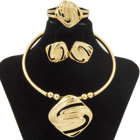 Jewelry Sets for Women Dubai Gold Big Necklace Earrings Bracelet Ring