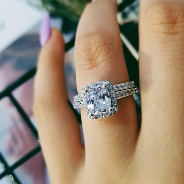 2019 New 925 Sterling Silver Ring Sets for Women Wedding Engagement