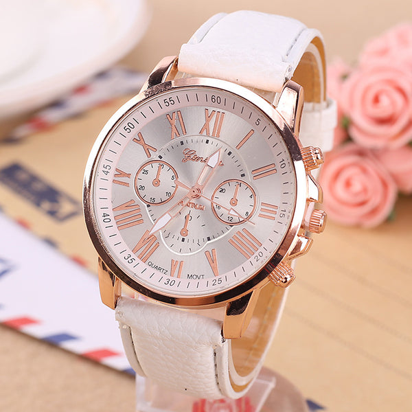 Luxury Brand Leather Quartz Watch Women Men