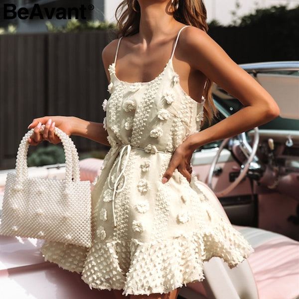 BeAvant Vintage flower embroidery short dress