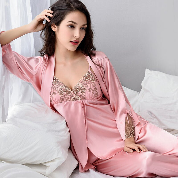 Pajama Sets Female Sexy Satin Silk Sleepwear Women - Marra's Dream