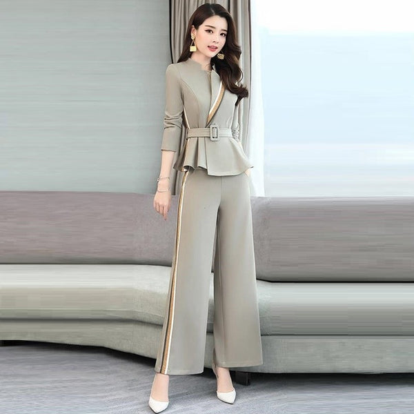 Two Piece Set Women Ruffle Jacket And Wide Leg Pant Suits 2019 - Marra's Dream
