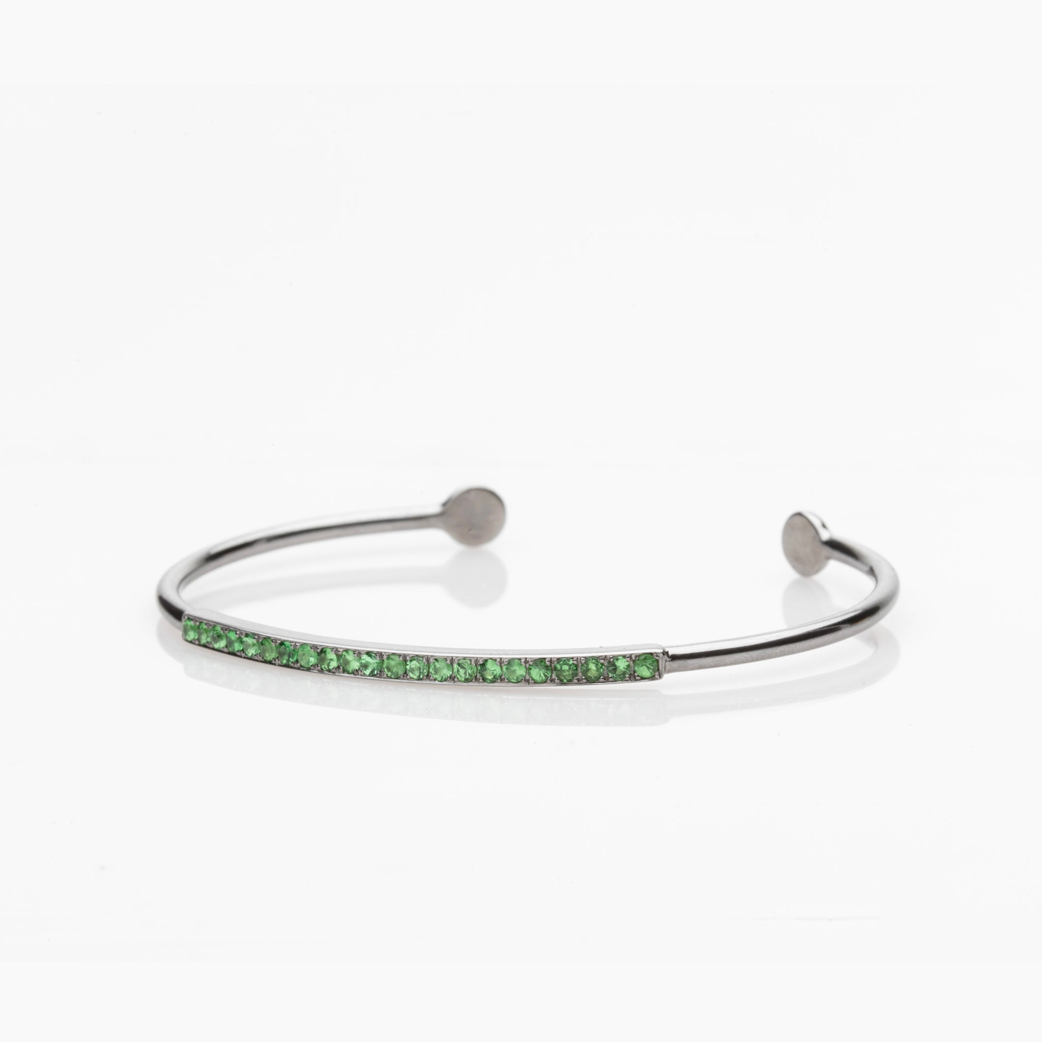 STERLING AND TSAVORITE LINE BRACELET