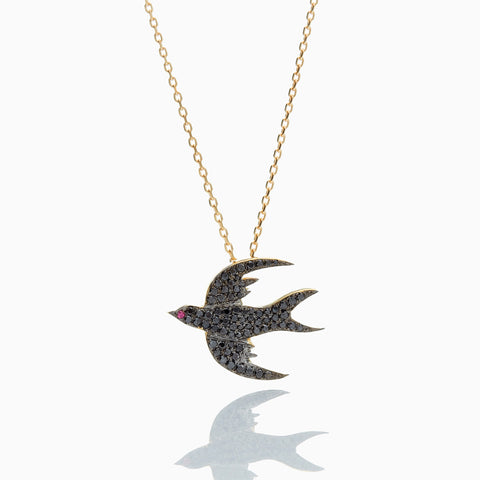 BLACK DIAMOND BIRD NECKLACE BIG MINI