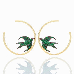 TSAVORITE BIRD HOOPS