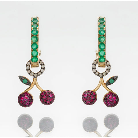 CHERRIES ON EMERALD HOOPS