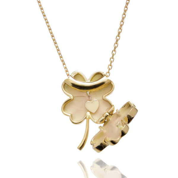 FOUR LEAF CLOVER LOCKET NECKLACE