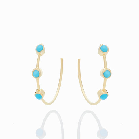 TURQUOISE CABOCHON HOOPS