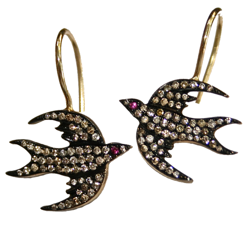CHAMPAGNE DIAMOND BIRD EARRINGS