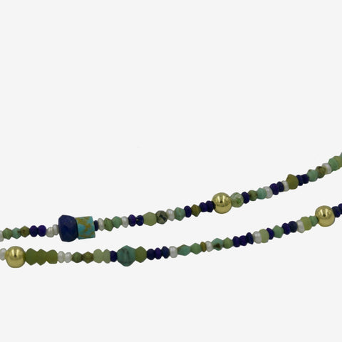 HAND BEADED LAPIS NECKLACE