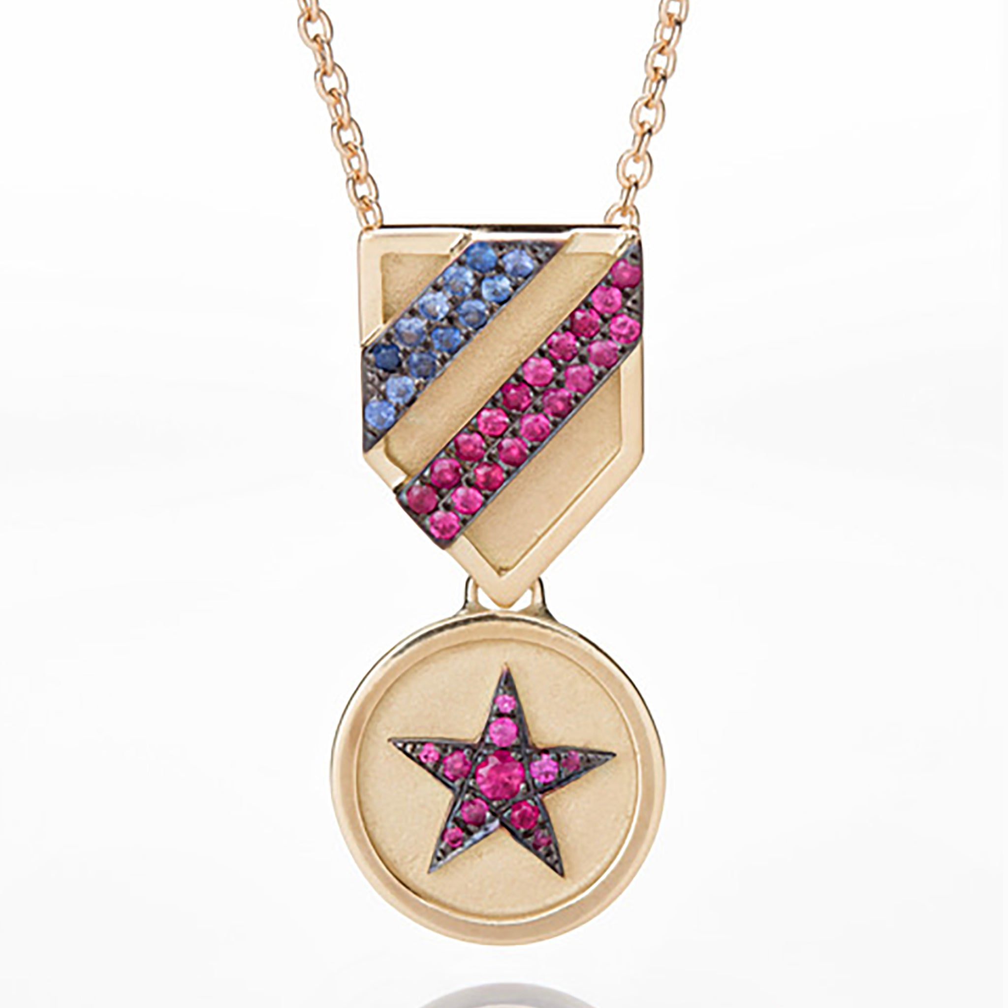 RUBY STAR MEDAL NECKLACE