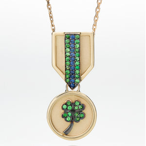 FOUR LEAF CLOVER MEDAL NECKLACE