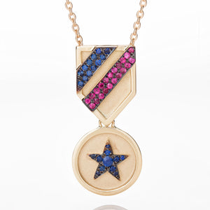 SAPPHIRE STAR MEDAL NECKLACE