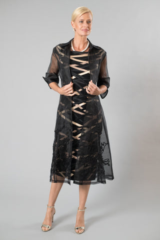 Black Organza Coat and Ribbon Dress for the Mother of the Bride / Groom