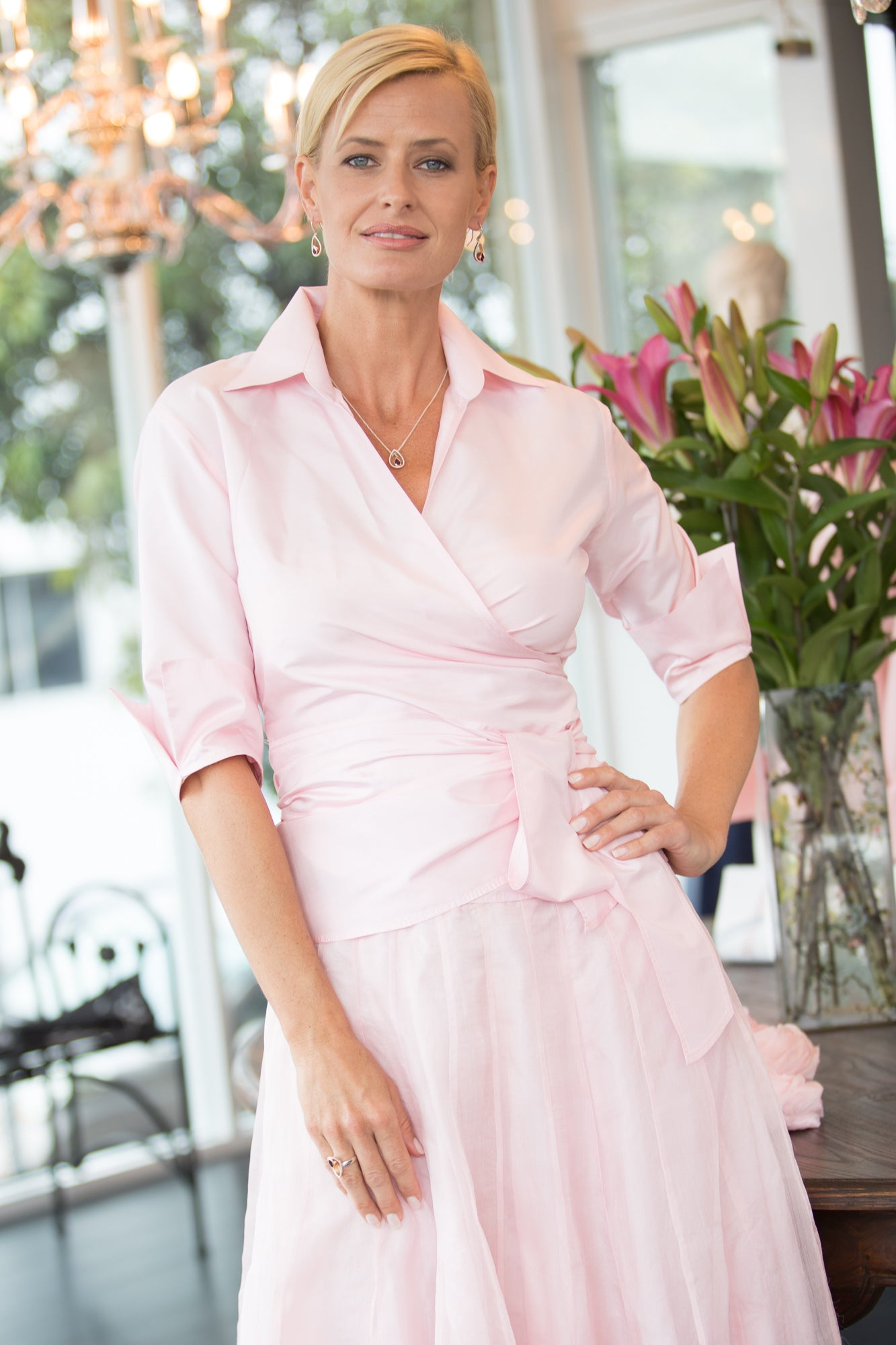 Classic Wrap Shirt - Soft Pink for the Mother of the Bride / Groom