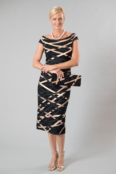 Ribbon Dress - Black and Gold for the Mother of the Bride / Groom