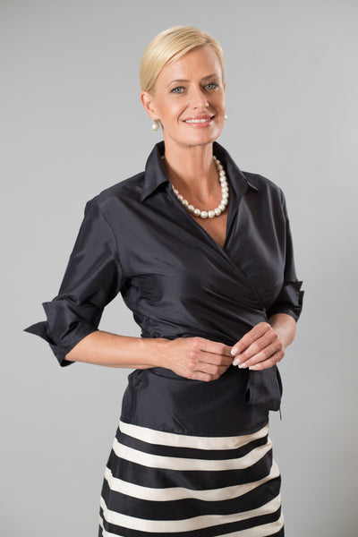 Classic Wrap Shirt - Black for the Mother of the Bride / Groom