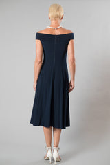 Navy tea length dress off the shoulder cocktail dress