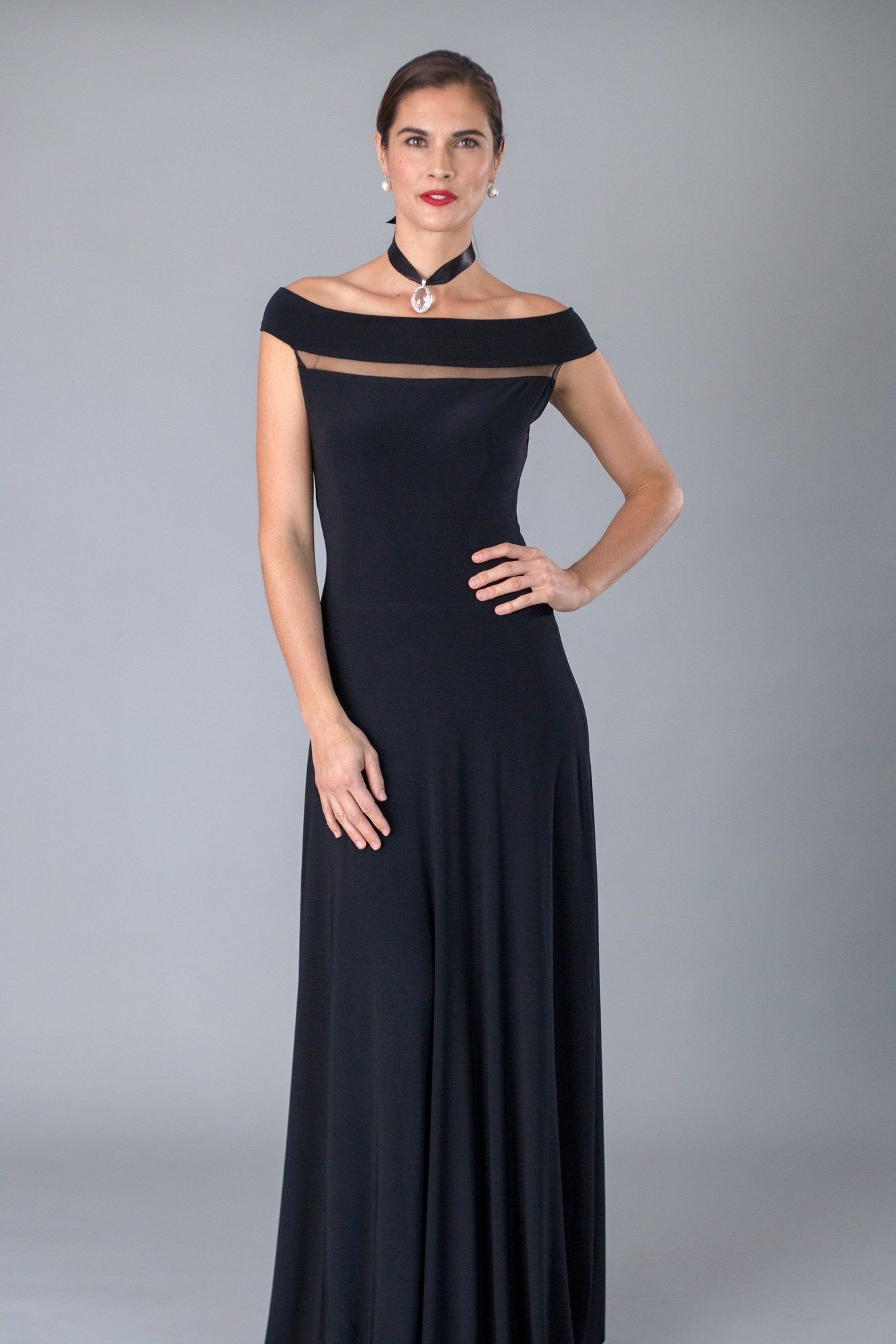 Black Floor Length Off the Shoulder Gown for the Mother of the Bride / Groom