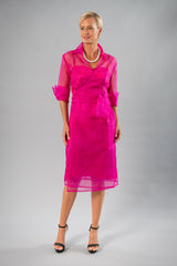 Cocktail Organza Wrap Dress - Fuchsia Pink for the Mother of the Bride / Groom