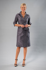 Cocktail Wrap Dress - Gunmetal for the Mother of the Bride / Groom