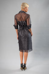 Cocktail Organza Wrap Dress - Gunmetal for the Mother of the Bride / Groom