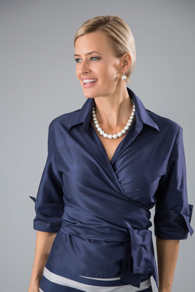 Classic Wrap Shirt - Navy for the Mother of the Bride / Groom