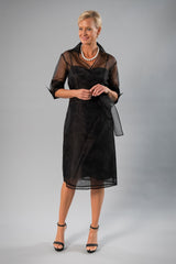 Cocktail Organza Wrap Dress - Black for the Mother of the Bride / Groom