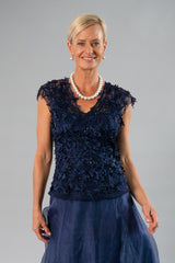 Petal Top and Camisole - Navy Blue for the Mother of the Bride / Groom