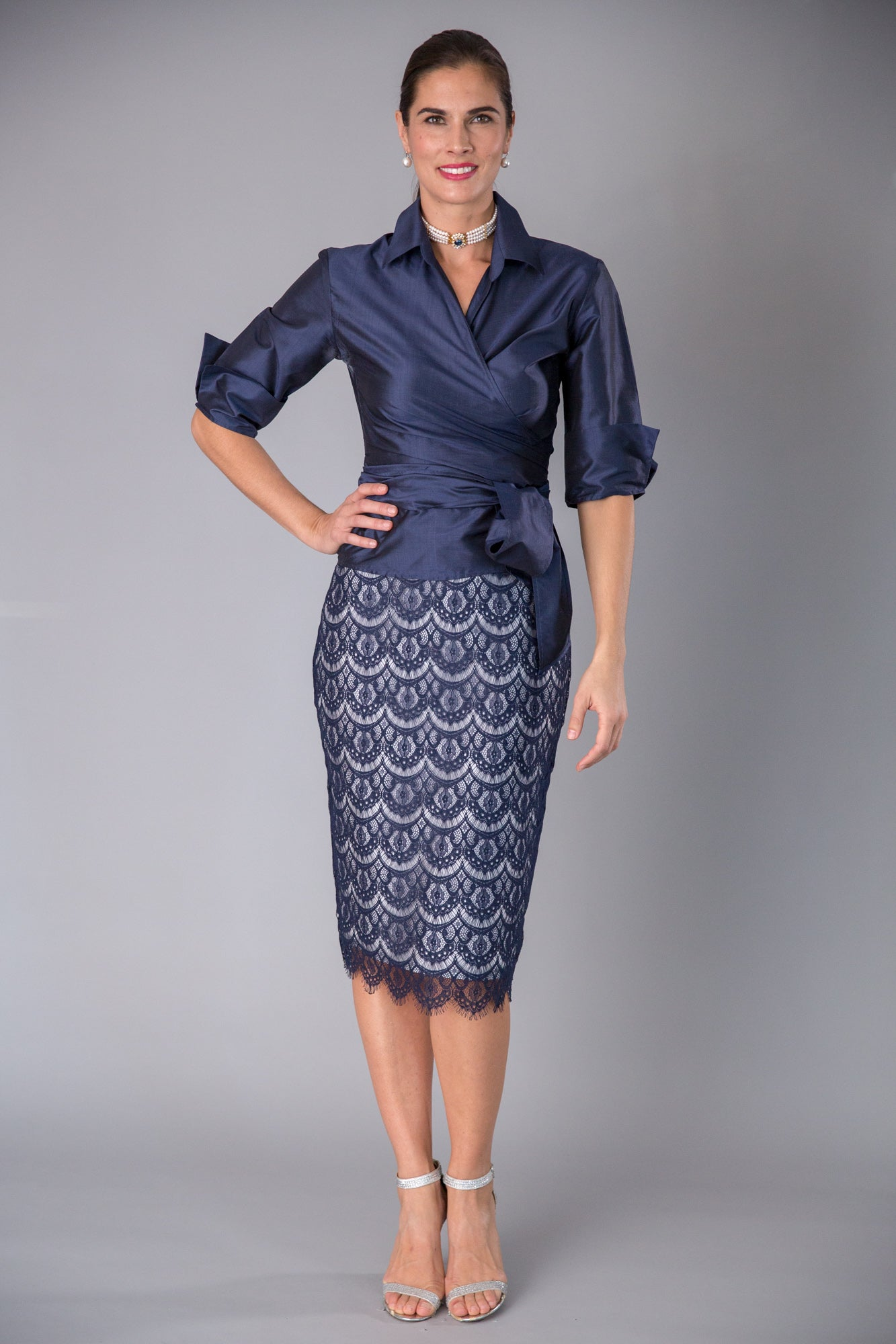 Lace Pencil Skirt - Navy + Silver for the Mother of the Bride / Groom