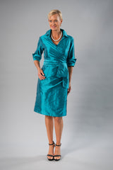 Cocktail Wrap Dress - Teal for the Mother of the Bride / Groom