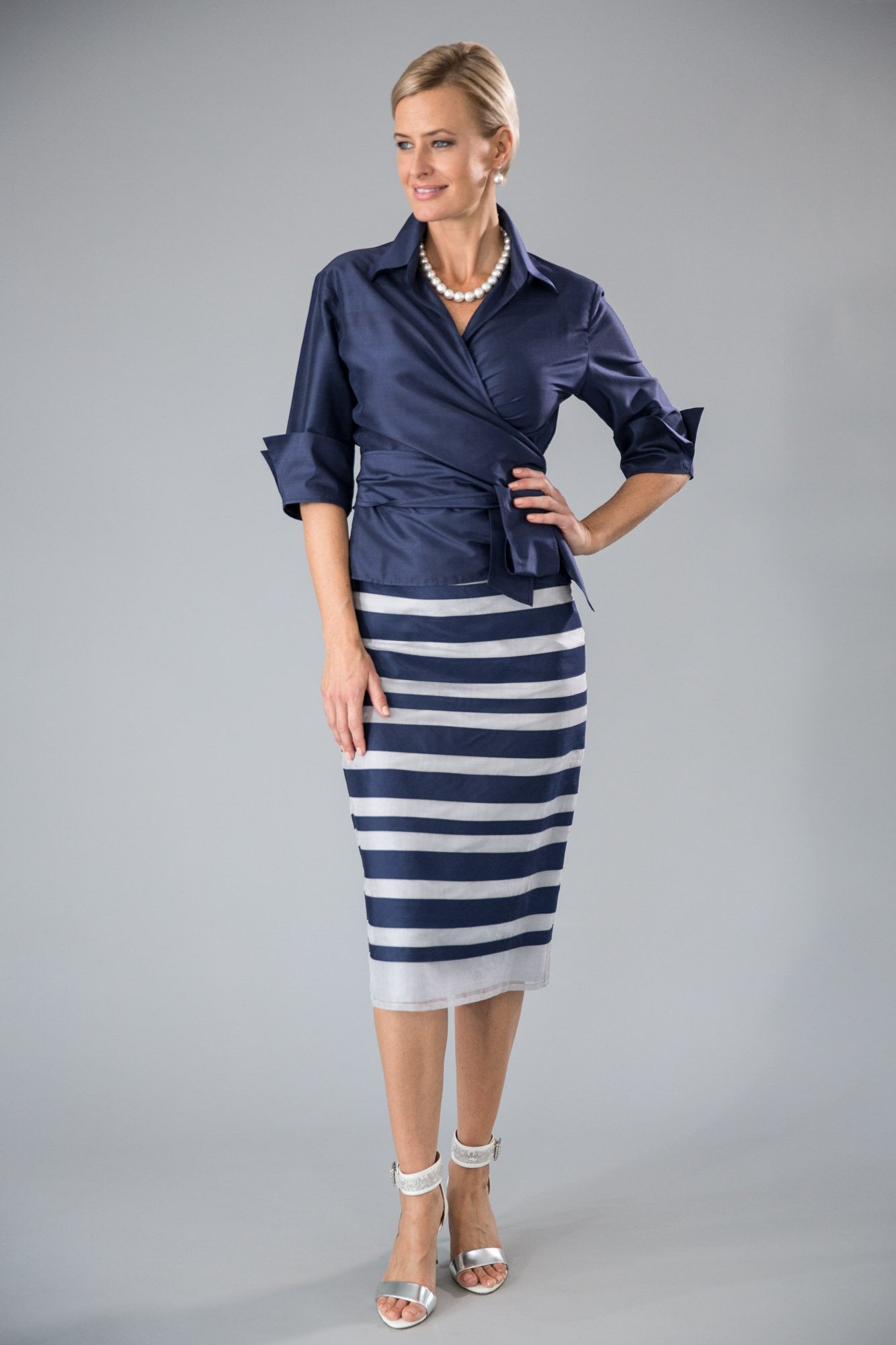 Zambi Skirt - Navy + Silver for the Mother of the Bride / Groom