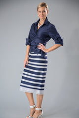Navy blue and silver pure silk two piece outfit for the modern and elegant mother of the bride/ groom