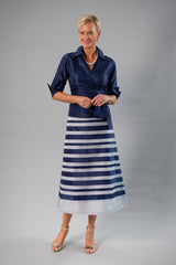 Zambi Tea Length Skirt - Navy + Silver for the Mother of the Bride / Groom