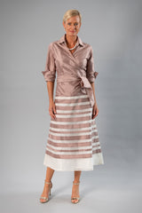 Zambi Tea Length Skirt - Coffee + Ivory for the Mother of the Bride / Groom