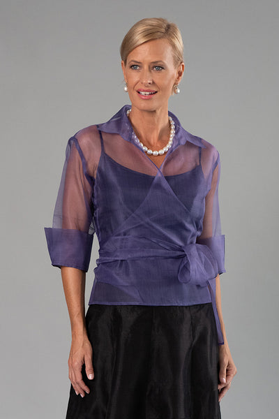 Organza Classic Wrap Shirt - Amethyst for the Mother of the Bride / Groom
