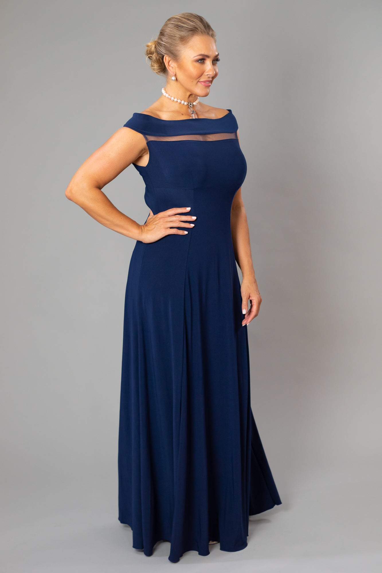 Navy Blue Floor Length Off the Shoulder Gown for the Mother of the Bride / Groom