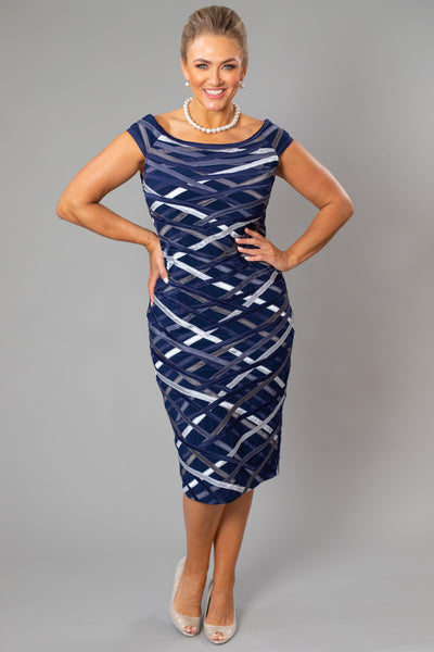 Ribbon Dress - Navy + Silver for the Mother of the Bride / Groom