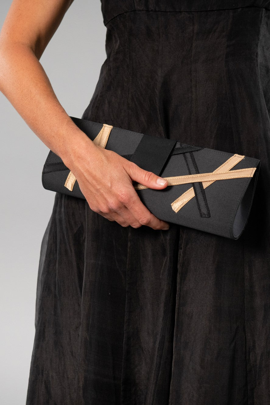 Ribbon Clutch - Black and Gold