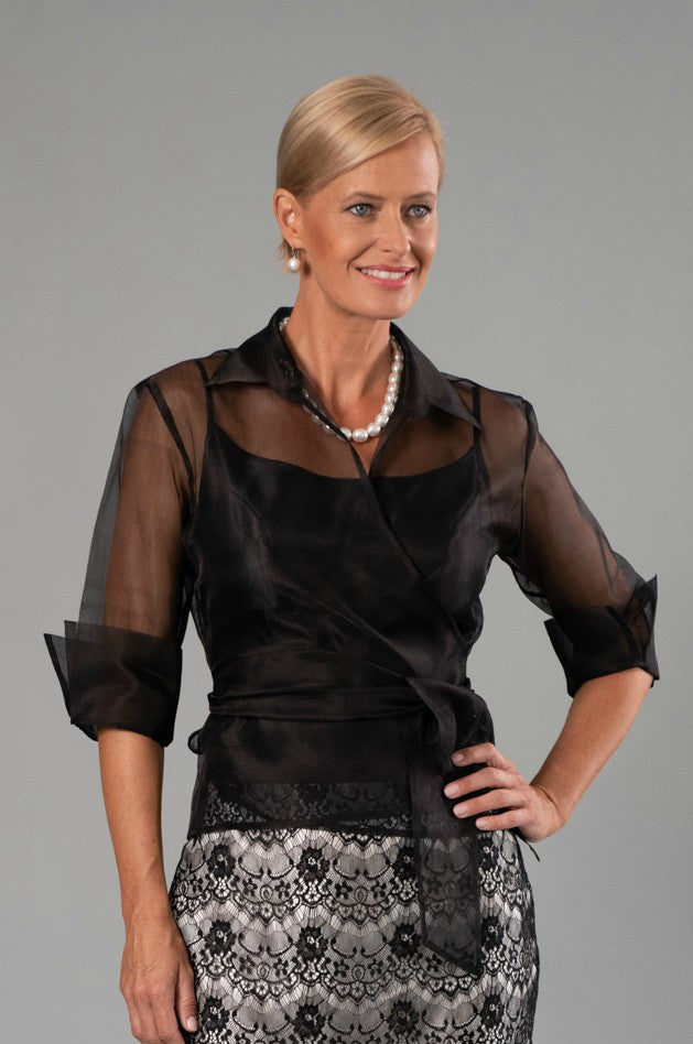 Organza Classic Wrap Shirt - Black for the Mother of the Bride / Groom